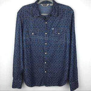 Salt Valley Western Pearl Snap Chambray Shirt